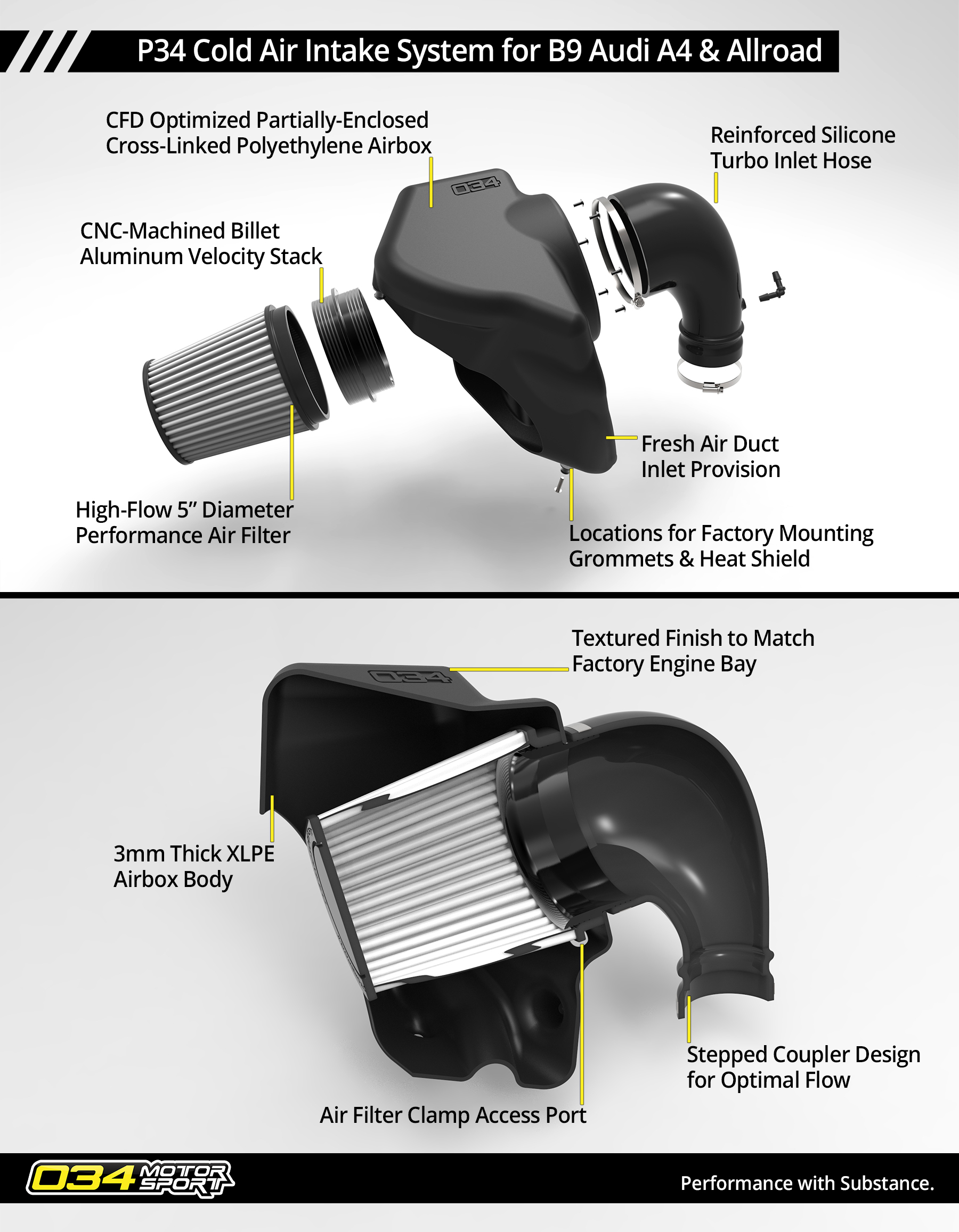 P#$ Cold Air Intake System for B9 Audi A4 & Allroad
